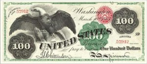 A 100 dollar bill from 1862.