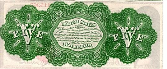"A 5 dollar ""greenback"" from 1862."
